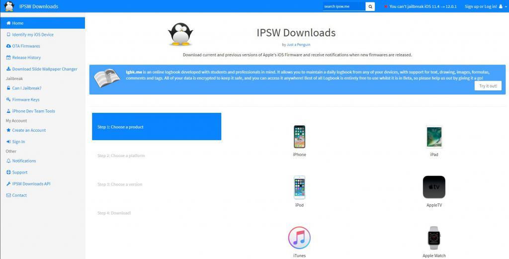Сайт для скачивания установщиков iOS